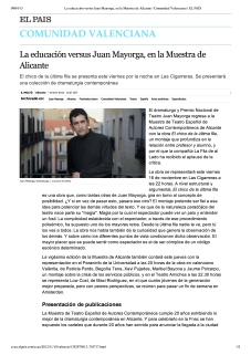 La educación versus Juan Mayorga, en la Muestra de Alicante