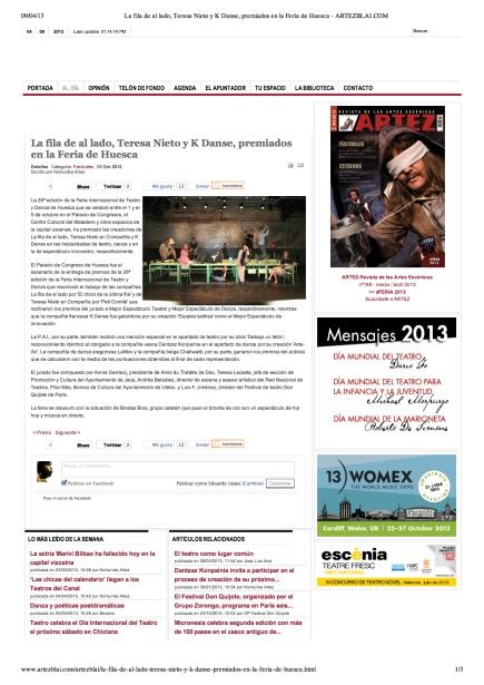 La 26a edición de la Feria Internacional de Teatro y Danza de Huesca que se celebró entre el 1 y el 5 de octubre