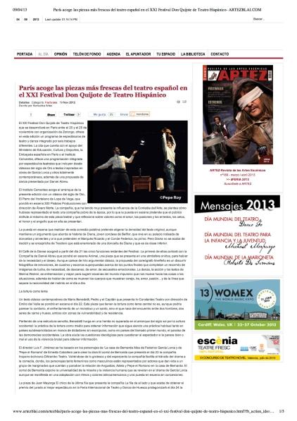 París acoge las piezas más frescas del teatro español en el XXI Festival Don Quijote de Teatro Hispánico