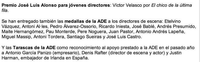 La Asociación de Directores de Escena de España entrega los Premios ADE PÁGINA3